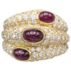 Cartier 18 Karat Gold Ruby Diamond Dome Ring