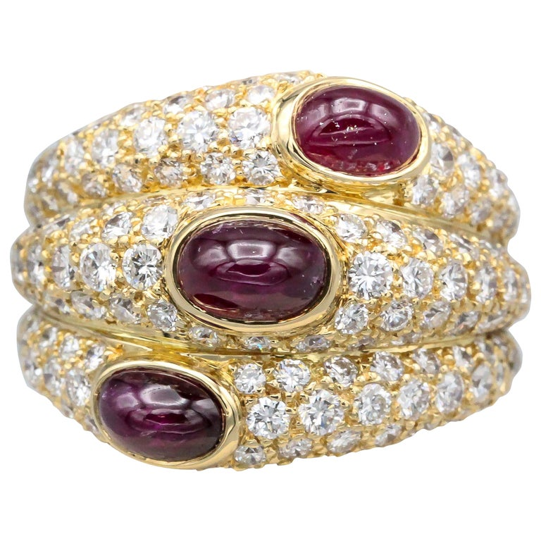 Cartier 18 Karat Gold Ruby Diamond Dome Ring For Sale
