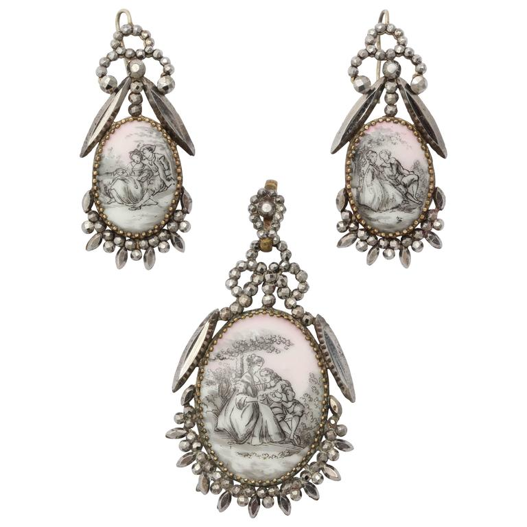 Rare Georgian Romantic Pendant and Earrings in Cut Steel and Porcelain