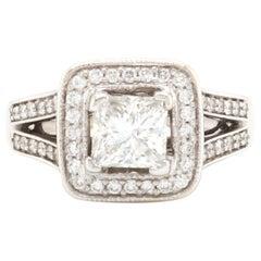 14 Karat White Gold 1.24ct Princess Cut Diamond Engagement Ring
