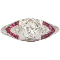 Natural Ruby and Diamond Art Deco Ring