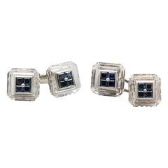 Boucheron Sapphire Rock Crystal and 18 Karat Gold Cufflinks