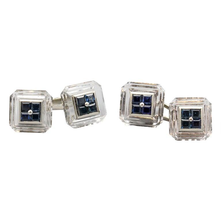 Boucheron Sapphire Rock Crystal and 18 Karat Gold Cufflinks For Sale