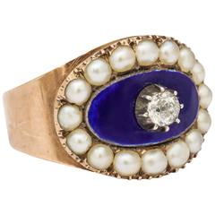1803 Natural Pearl Diamond Gold Ring