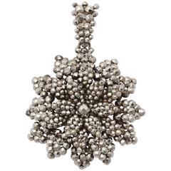 Rich Sparkling Cut Steel Floral Pendant c1830