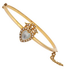 15 kt Moonstone and Pearl Hearts on a Knife Edge Bangle Bracelet c.1880