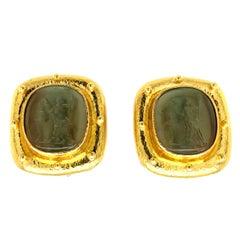 Elizabeth Locke Green Venetian Glass Earrings