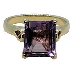 14kt Yellow Gold Emerald Cut Amethyst Ring, Amethyst