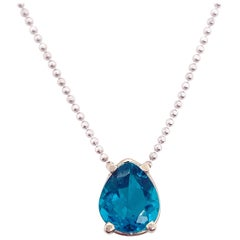 Apatite Pendant Necklace, White Gold, Solitaire Pear Shaped Turquoise Color