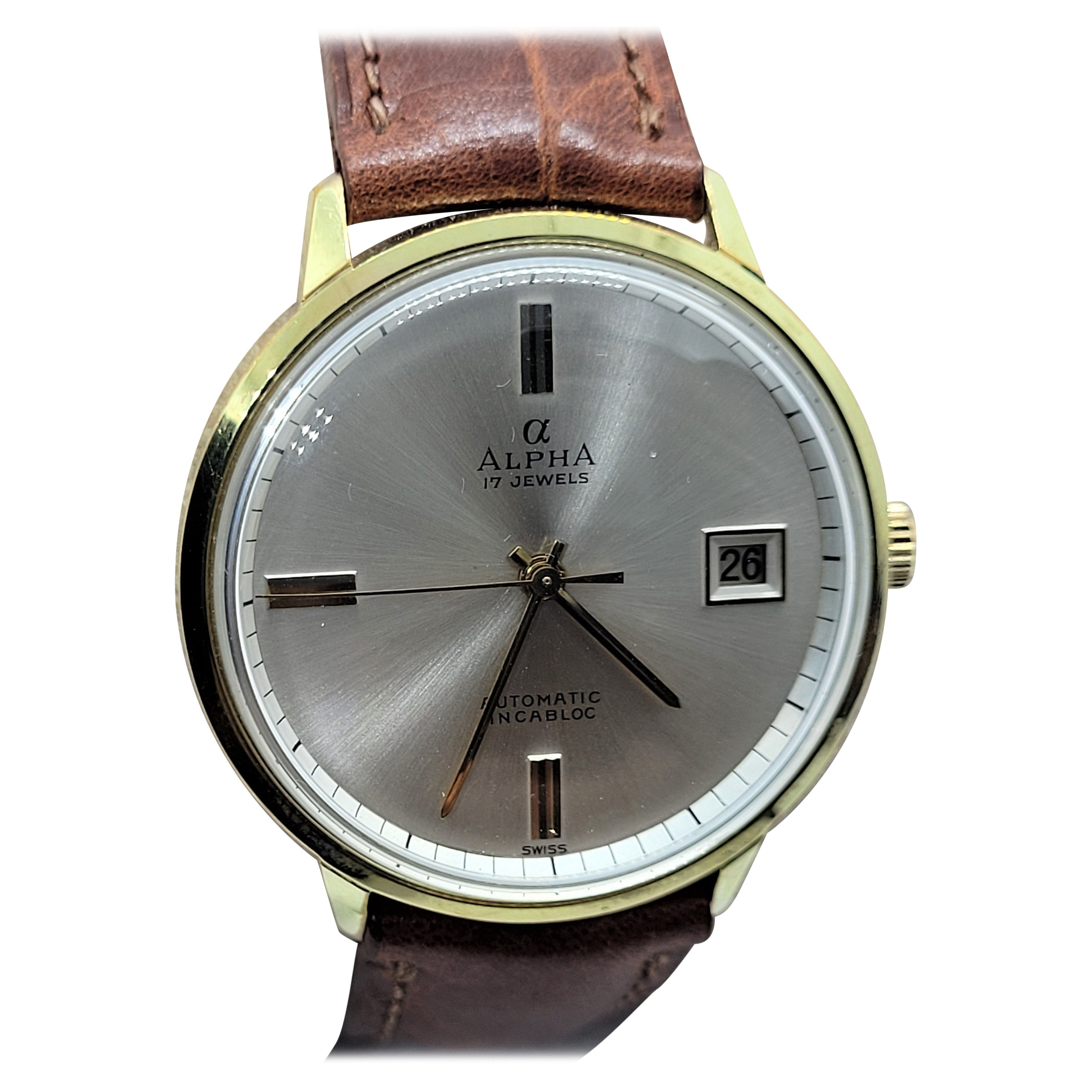 Mens Vintage Alpha Watch, 17 Jewel Automatic, Fully Serviced Swiss