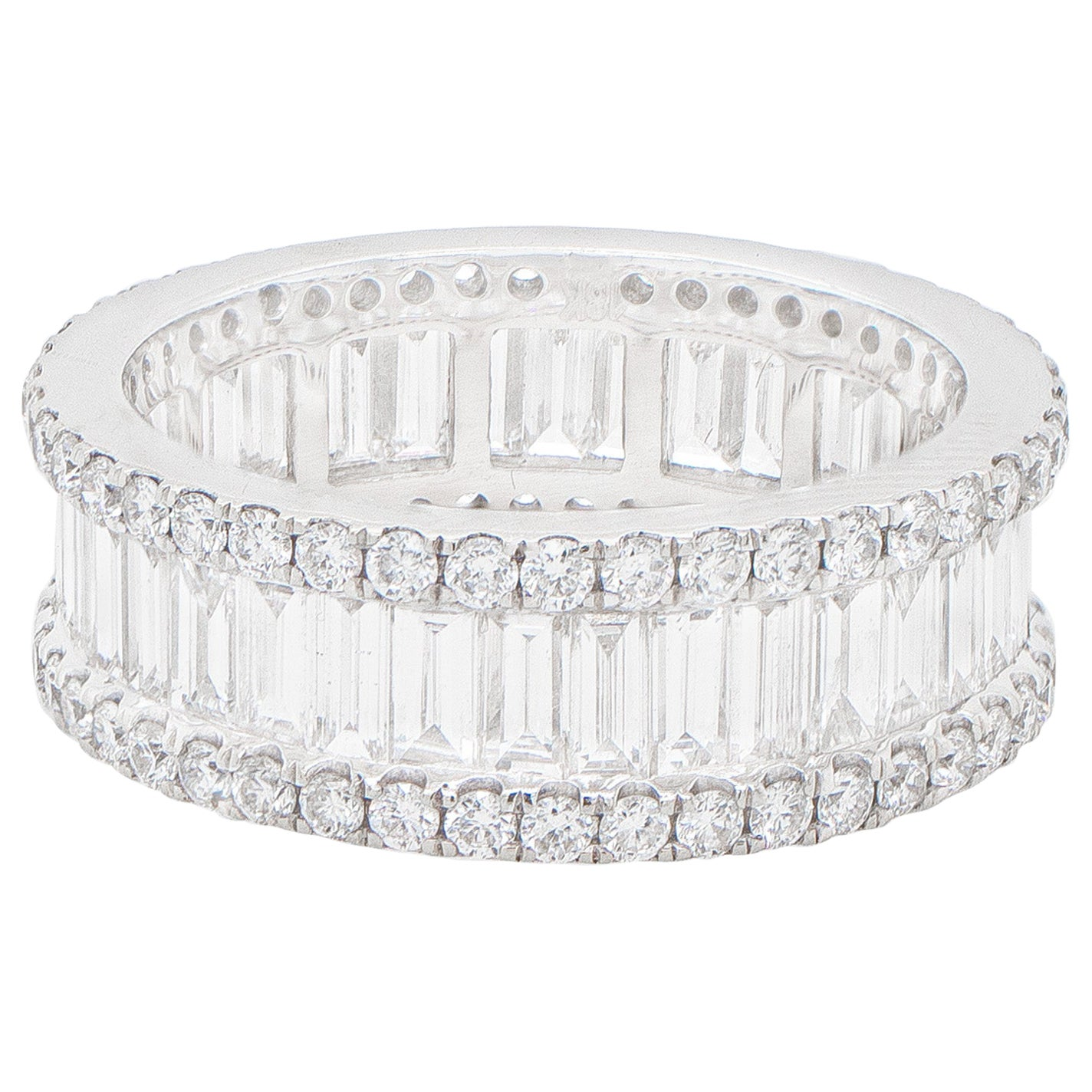 Diamond Eternity Band Ring 3.55 Carats 18K White Gold