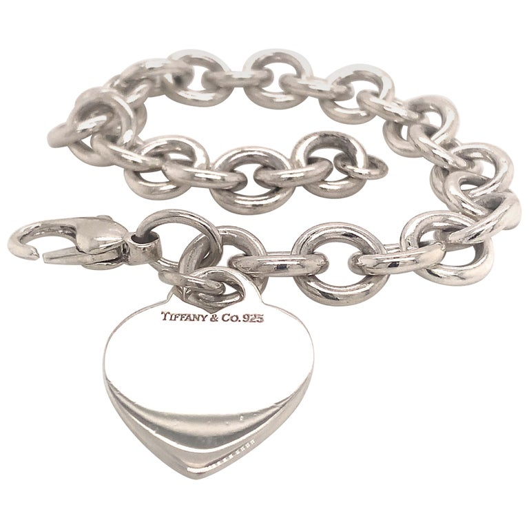 Tiffany & Co. Estate Bracelet with Heart Charm Sterling Silver For Sale