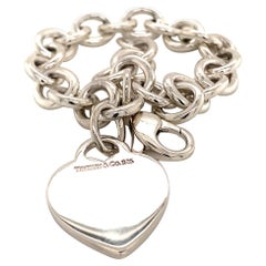 Tiffany & Co. Estate Bracelet with Heart Charm Sterling Silver