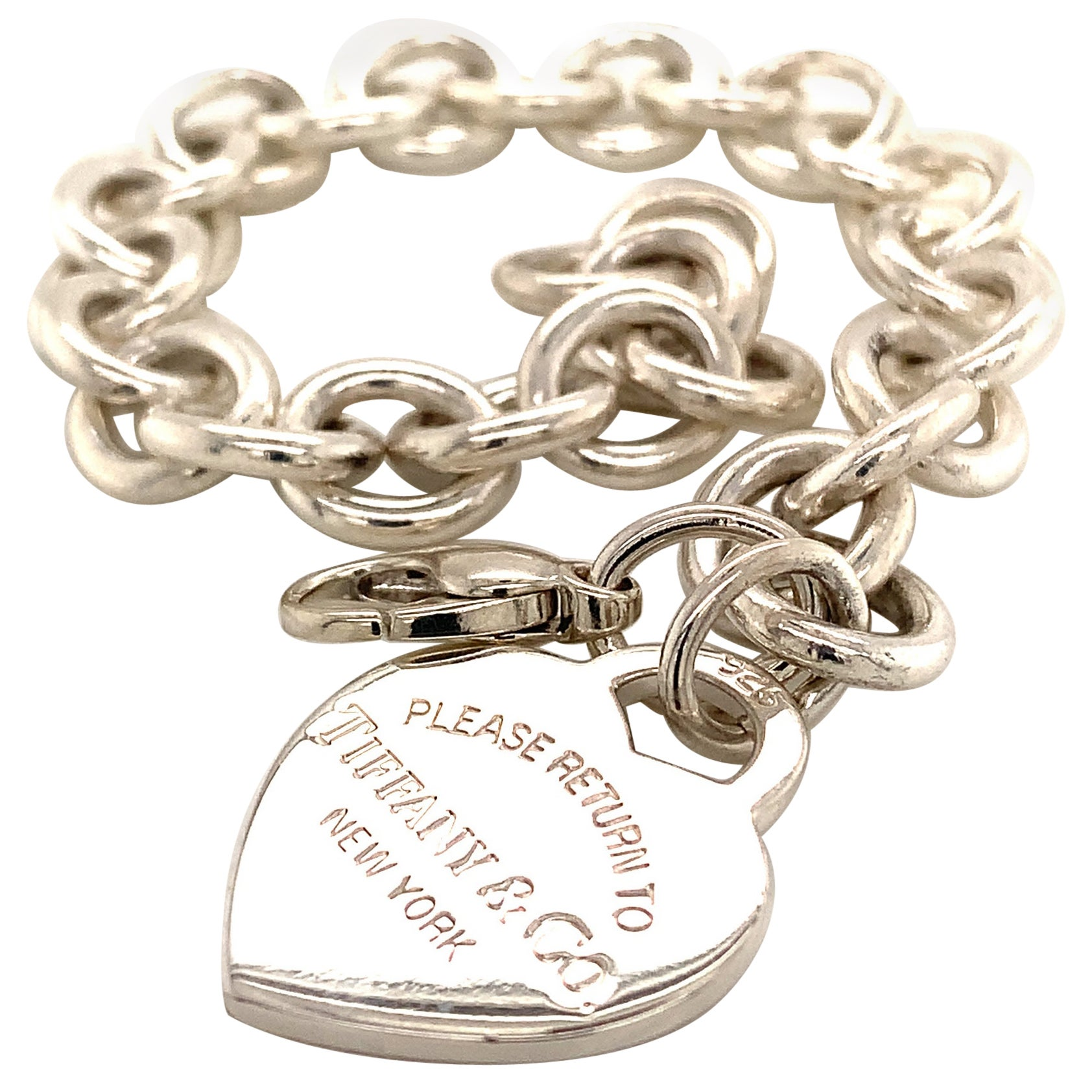 Tiffany & Co. Estate Bracelet with Heart Charm Sterling Silver 36g