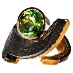 8.37 Carat Tourmaline 24 Carat Gold Iron Ring by Günter Krauss