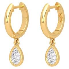 Pear Diamond 14 Karat Gold Huggie Hoop Earrings