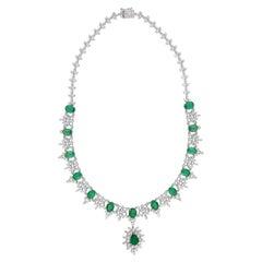 16.48 Carat Oval Zambian Emerald 18 Karat Gold Diamond Necklace