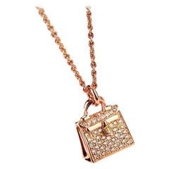 Hermès 18K Rose Gold Diamond Kelly Amulette Pendant Necklace