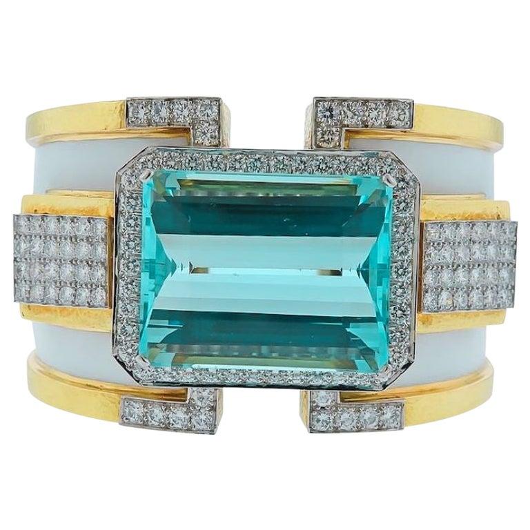 David Webb 18K Yellow Gold Large Aquamarine And Diamond Bangle Cuff Bracelet For Sale