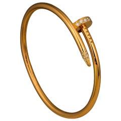 Cartier Juste Un Clou Partial Diamond 18k Rose Gold Watch