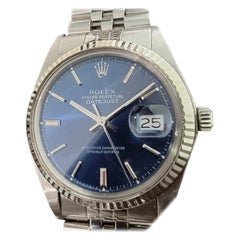 Mens Rolex Oyster Datejust 1601 Automatic Blue Dial 1960s Vintage RA244