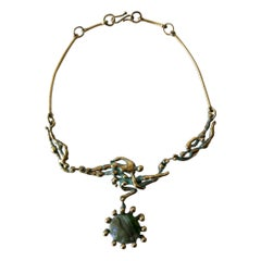 Michael Schwade Patinated Bronze Glass Nude Space Ballet Necklace