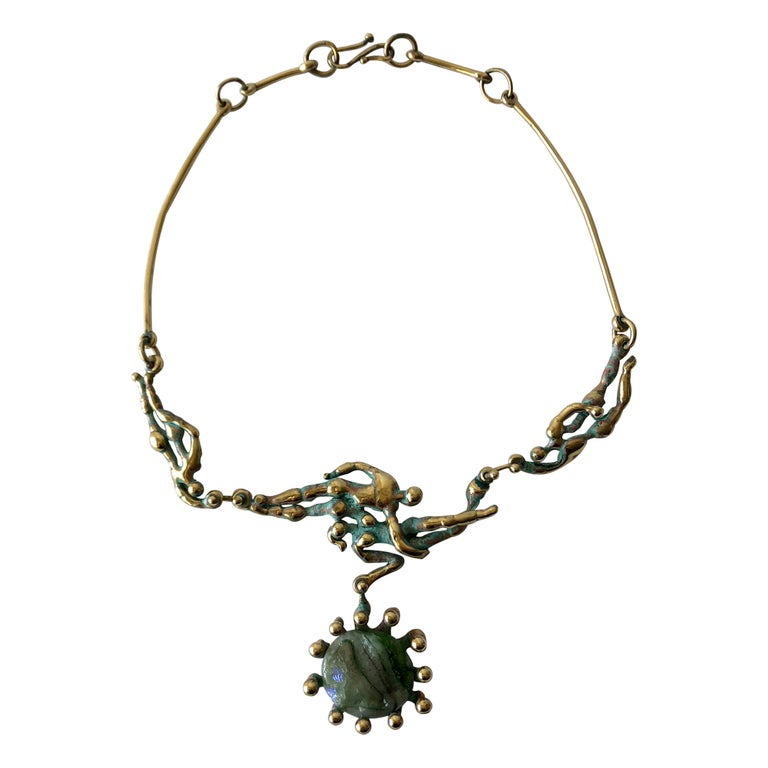 Michael Schwade Patinated Bronze Glass Nude Space Ballet Necklace For Sale