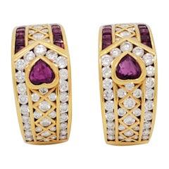 Estate White Diamond and Ruby Semi Hoop Earrings in 18k Yellow Gold