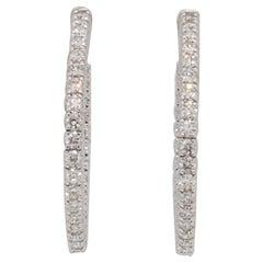 White Diamond Round Hoops in 14k White Gold