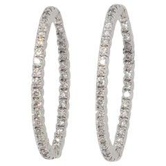 Estate White Diamond Round Hoops in 14k White Gold