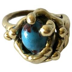 Michael Schwade Handmade Bronze Glass Organic Modernist Ring