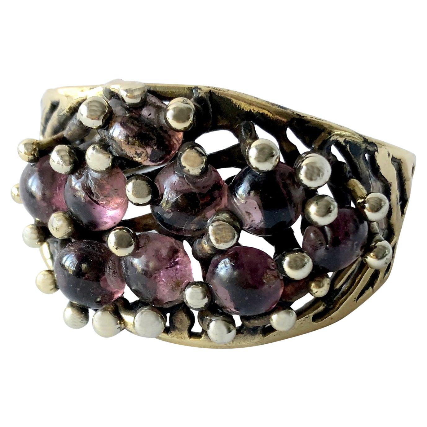 Michael Schwade Handmade Bronze and Glass Cuff Bracelet