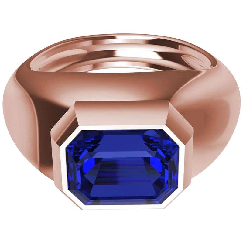 18 Karat Rose Gold 2.54 Carat Blue Sapphire Sculpture Ring