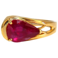 3.50ct Enhanced Ruby Solitaire Ring 14kt