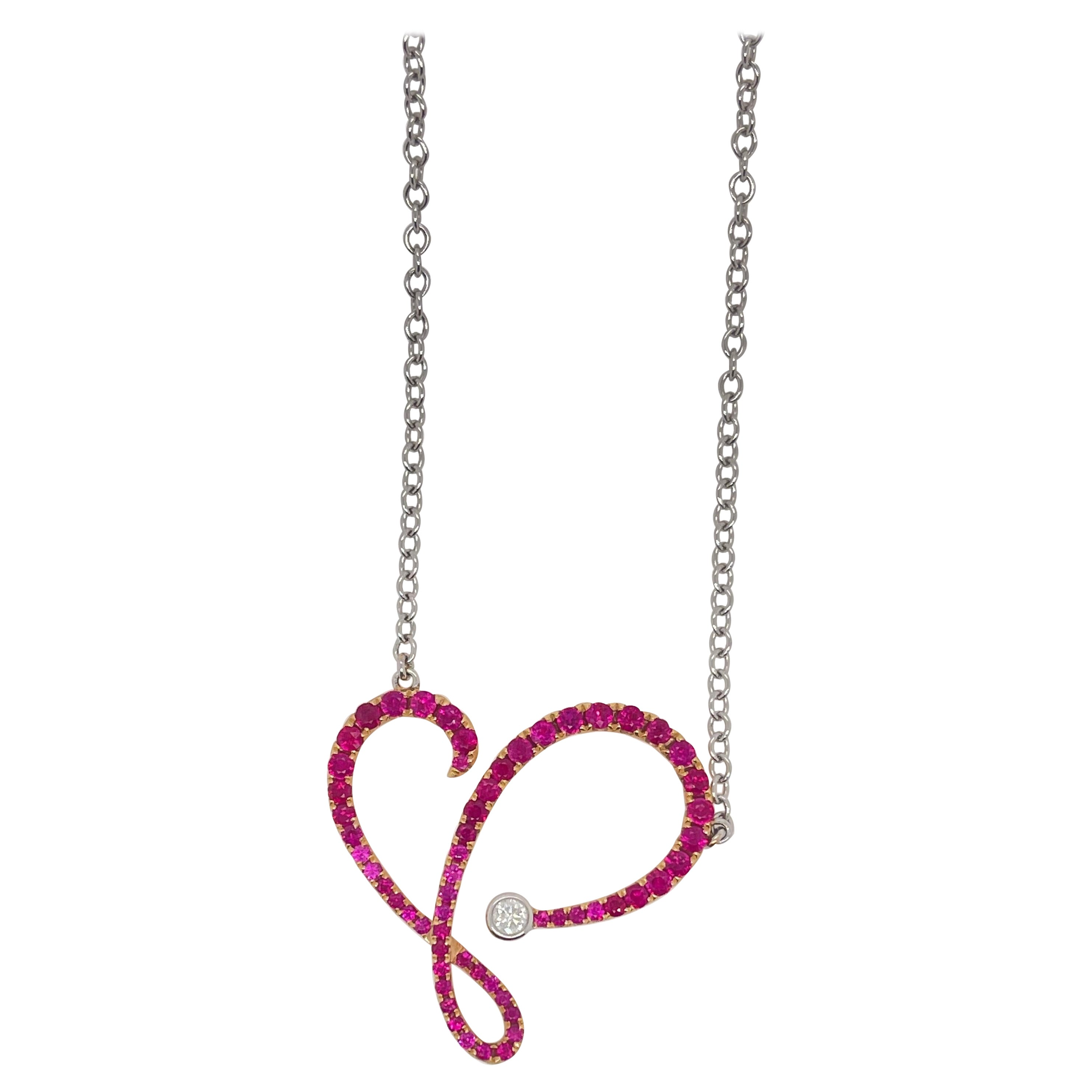 White Gold Ruby & Diamond Swirl Pendant Necklace