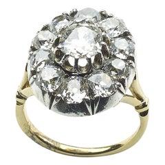 Vintage Diamond Cluster Ring Silver-Upon-Gold, Circa 1980