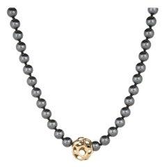 Tiffany & Co Hematite Necklace Vintage Strand 18k Yellow Gold