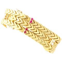 Vintage Ruby and Diamond Yellow Gold Bracelet by Kutchinsky, Circa 1960