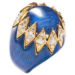 Van Cleef & Arpels Sapphire, Diamond and Enamel Dome Ring