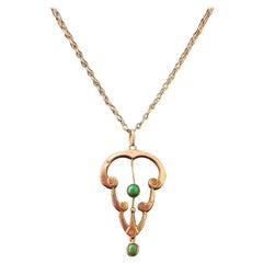 Antique Art Nouveau Turquoise Lavalier Pendant, 9k Rose Gold, Necklace