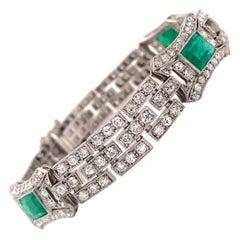 Art Deco 10ctw European-Cut Diamond and Green Emerald Platinum Bracelet