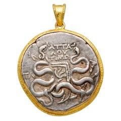 Ancient Greek 1st Century BC Cistophorus Coin 18K Gold Pendant