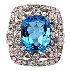 5.42 Carat Topaz Diamond Cocktail Ring