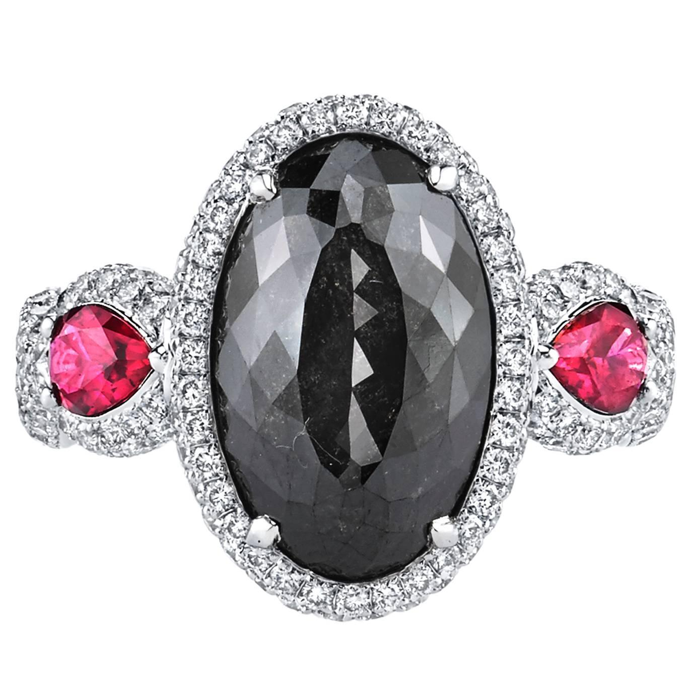 Natural Fancy GIA Cert 6 21 Carat Black Diamond Ruby Gold Ring For Sale at 1s