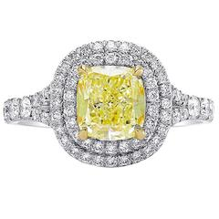 Double Halo Light Yellow and Colorless Diamond Gold Engagement Ring