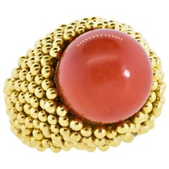 18K and Coral Large Vintage Ring, Circa 1960