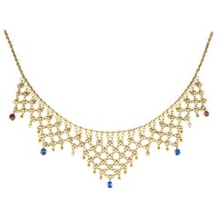 French Antique Openwork Pearl Sapphire Ruby Gold Necklace