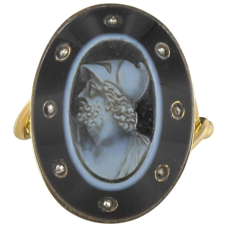 Empire Onyx Cameo and Rose Cut Diamond Ring