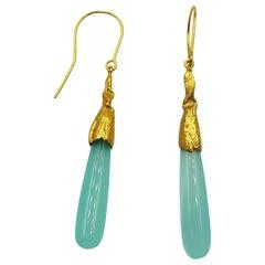 Blue Agate Silver Gold Plate Hand Made Artist Design Dangle Earrings