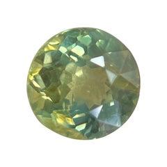 Rare Australian Untreated Green Yellow Parti Colour Sapphire 0.88ct Round